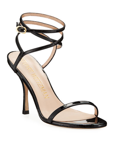 Merinda Strappy Patent Ankle-Wrap Sandals