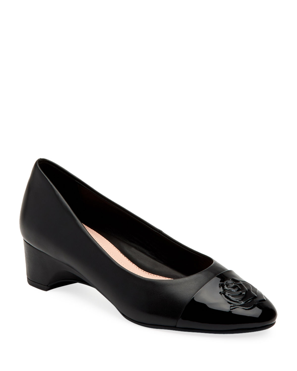 Taryn Rose Pumps BABE PATENT-CAPPED LEATHER BALLET PUMPS