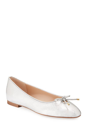 Stuart Weitzman Gabby Metallic Leather Bow Flats