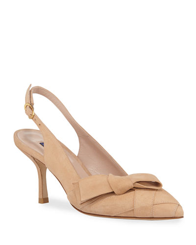 Jennifer Suede Slingback Bow Pumps