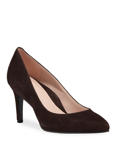 Gabriela Suede Low-Heel Point-Toe Pumps