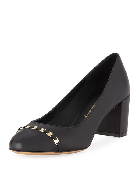 Salvatore Ferragamo Avella Cap-Toe Pumps with Mini Buckles
