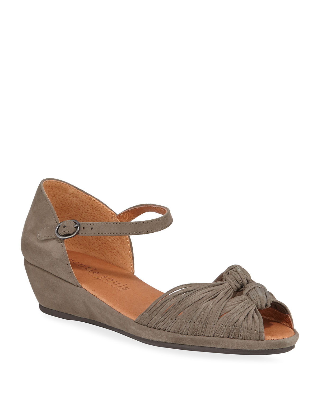 Lily Knot Suede Wedge Sandals