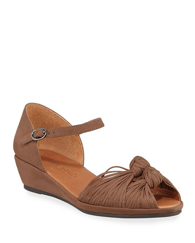 Lily Knotted Nubuck Wedge Sandals