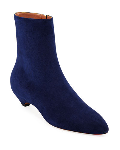 Covered-Heel Suede Booties