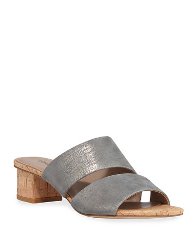 Margret Metallic Two-Band Slide Sandals