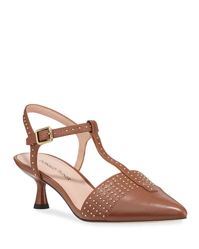 Botti Studded T-Strap Pumps