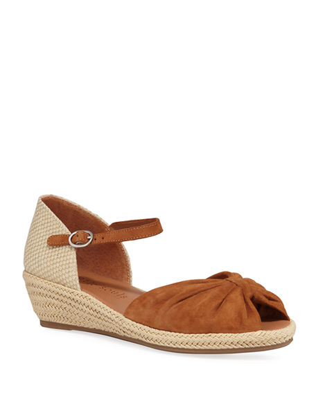 Image 1 of 3: Gentle Souls Lucille Suede Demi-Wedge Sandals