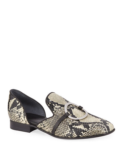 Ianthe Snake-Print Loafers