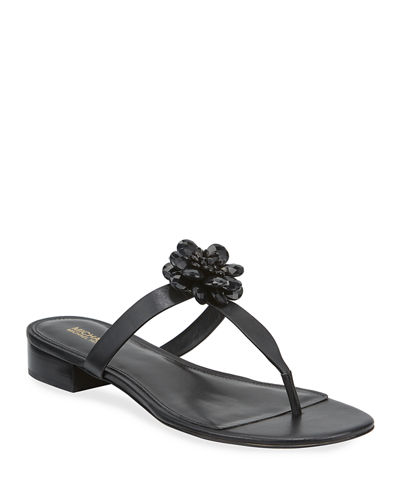 Dalia Leather T-Strap Flower Sandals