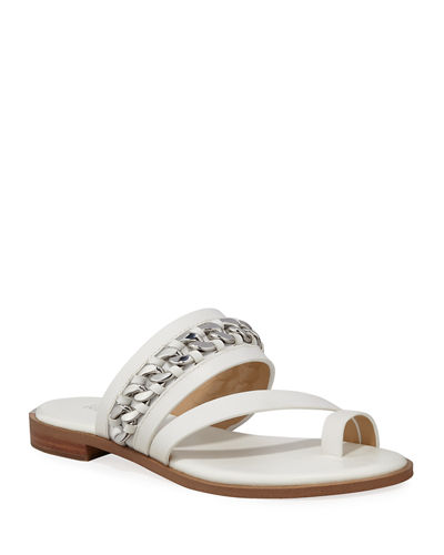Bergen Flat Leather Chain Sandals