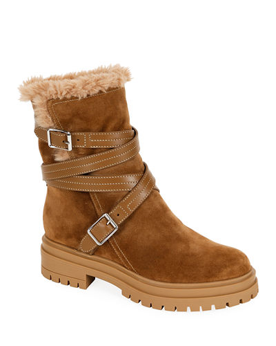 Suede Eco-Fur Belted Boots