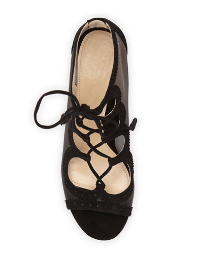 Marion Parke Brooke Suede Lace-Up Mesh Pumps