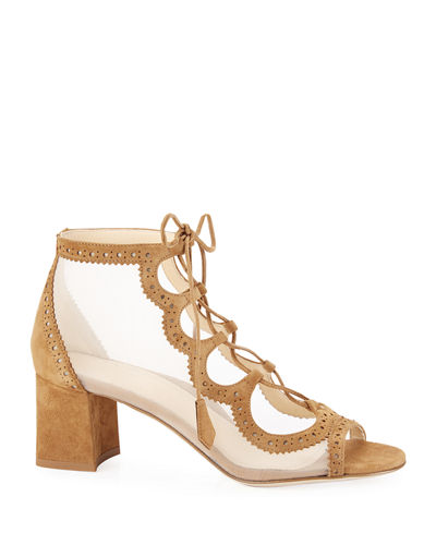 Brooke Suede Lace-Up Mesh Pumps