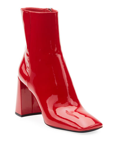 Patent Leather Block-Heel Booties