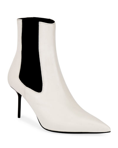 Two-Tone Gored Leather Booties