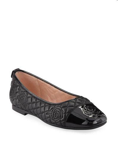 Reese Rose-Quilted Leather Ballet Flats