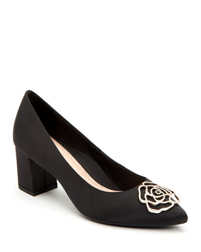 Maci Satin Crystal Block-Heel Evening Pumps