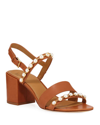 Emmy Pearly Studded Block-Heel Sandals