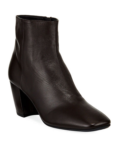 Smooth Leather Block-Heel Booties