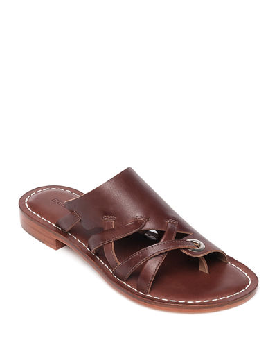 Tenley Flat Leather Slide Sandals