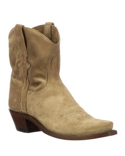 Elana Short Suede Western Boots (Made to Order)