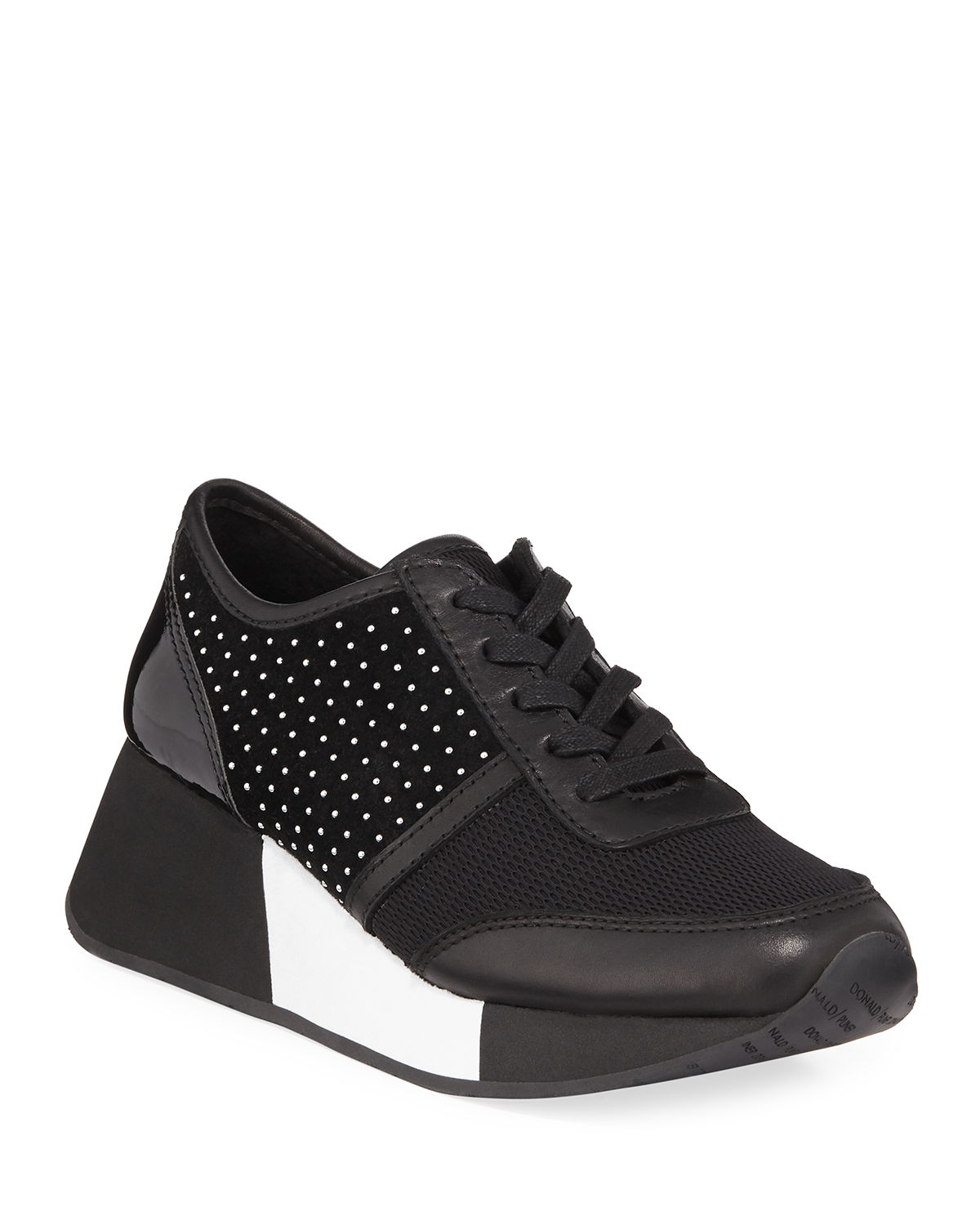 Payce Micro Stud Suede Wedge Sneakers