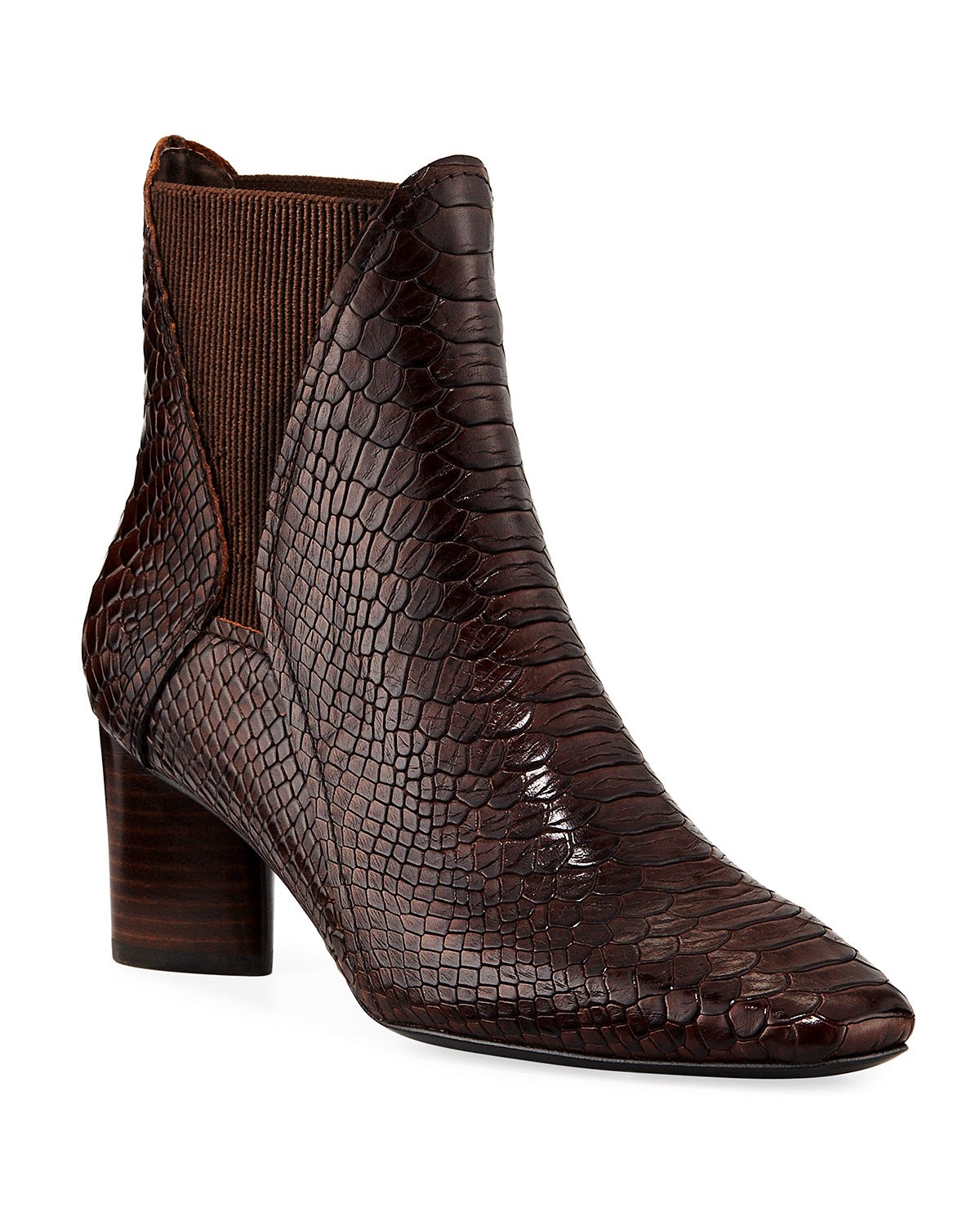 Austen Python-Print Leather Chelsea Booties