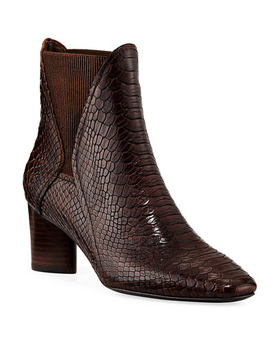 Austen Python-Print Leather Booties