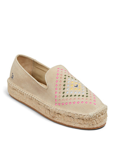 Luna Suede Embroidered Espadrilles