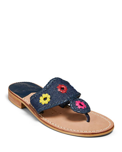 Jacks Denim Flat Sandals