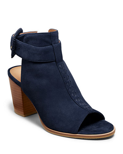 Izzie Suede Open-Toe Booties