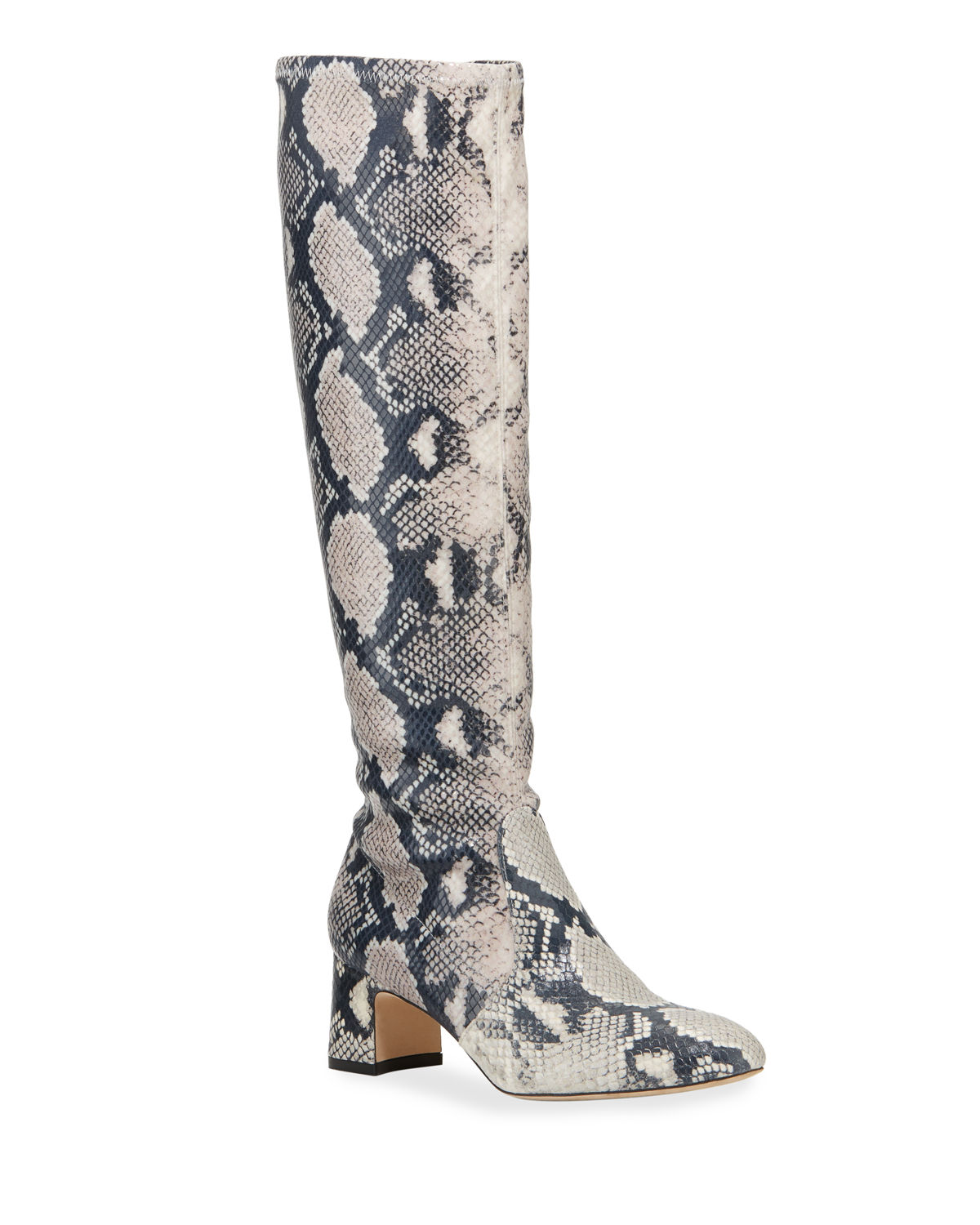 Milla Snake-Print Leather Knee Boots