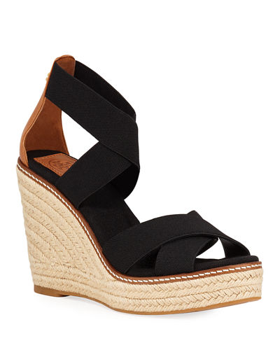 Tory Burch Frieda Strappy Woven Wedge Espadrilles