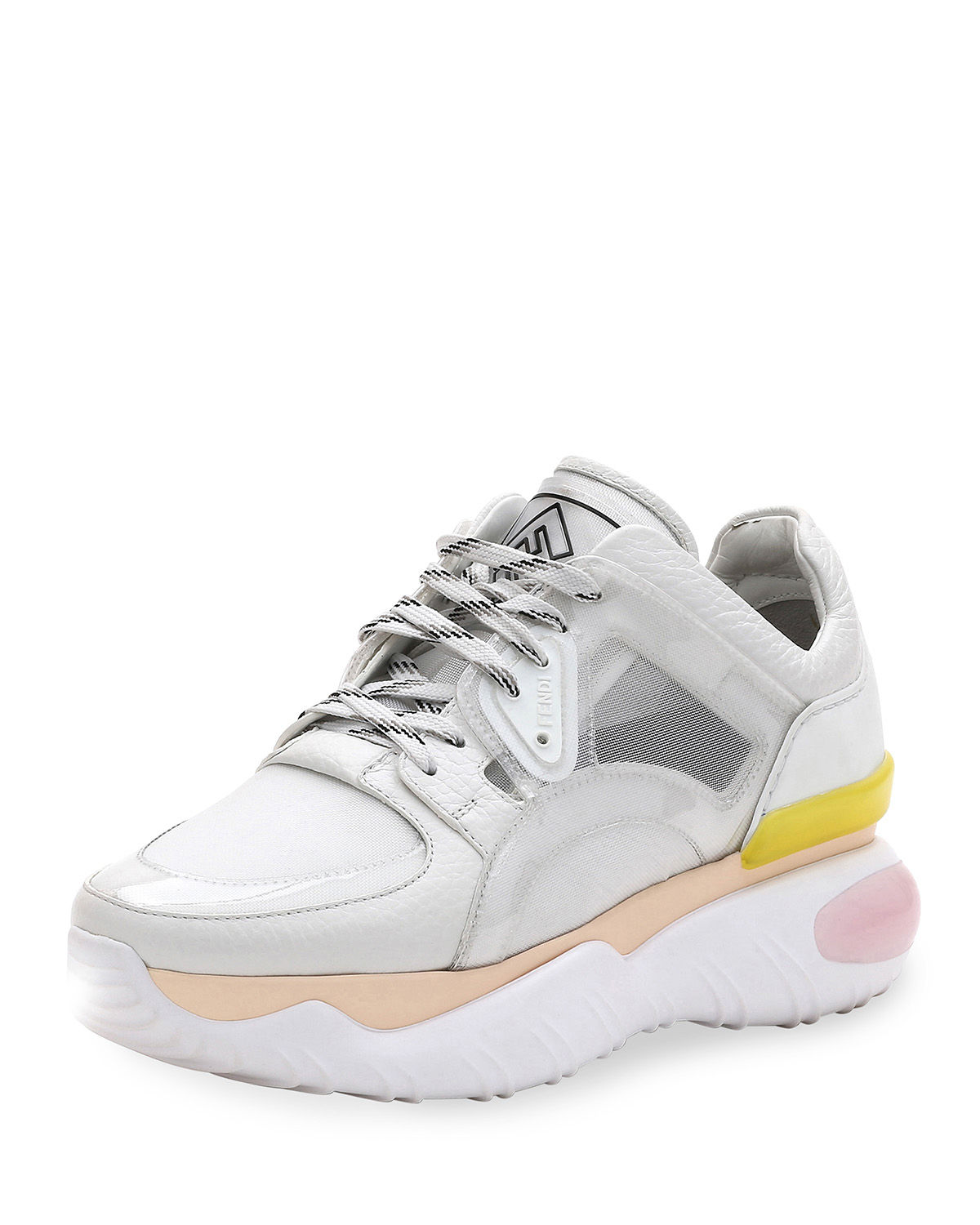 Fendi Sneakers LEATHER AND MESH TRAINER SNEAKERS