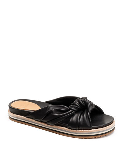 Padget Flat Knotted Leather Slide Sandals