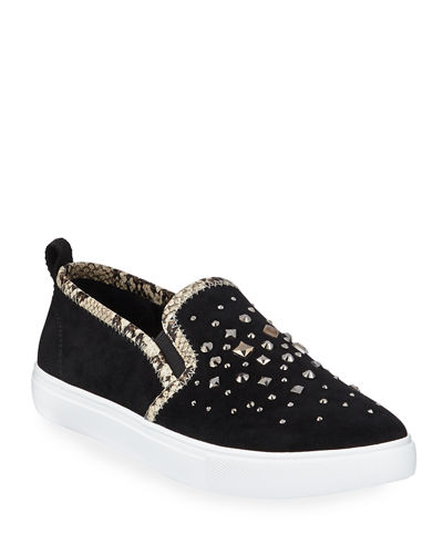 Sanya Beaded Suede Slip-On Sneakers