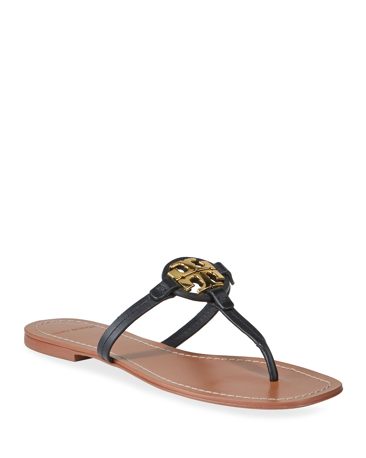 Tory Burch Sandals MILLER LOGO LEATHER THONG SANDALS
