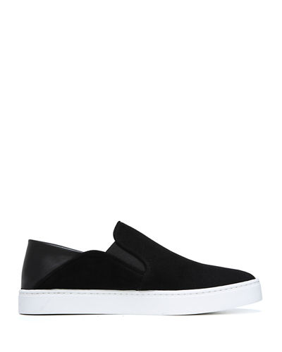 Vince Garvey Suede Slip-On Sneakers w/ Fold-Down Back