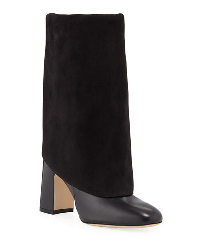 Lucinda Mixed Leather Fold-Over Booties