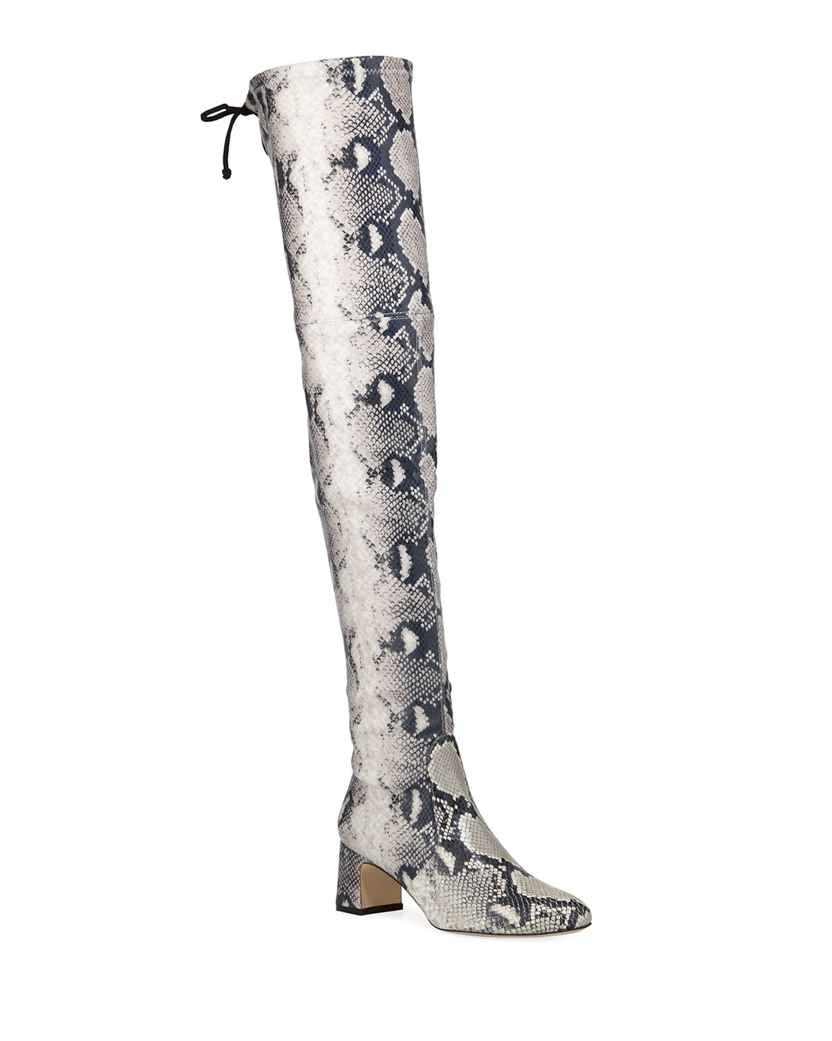 Kristie Python-Print Leather Tall Boots