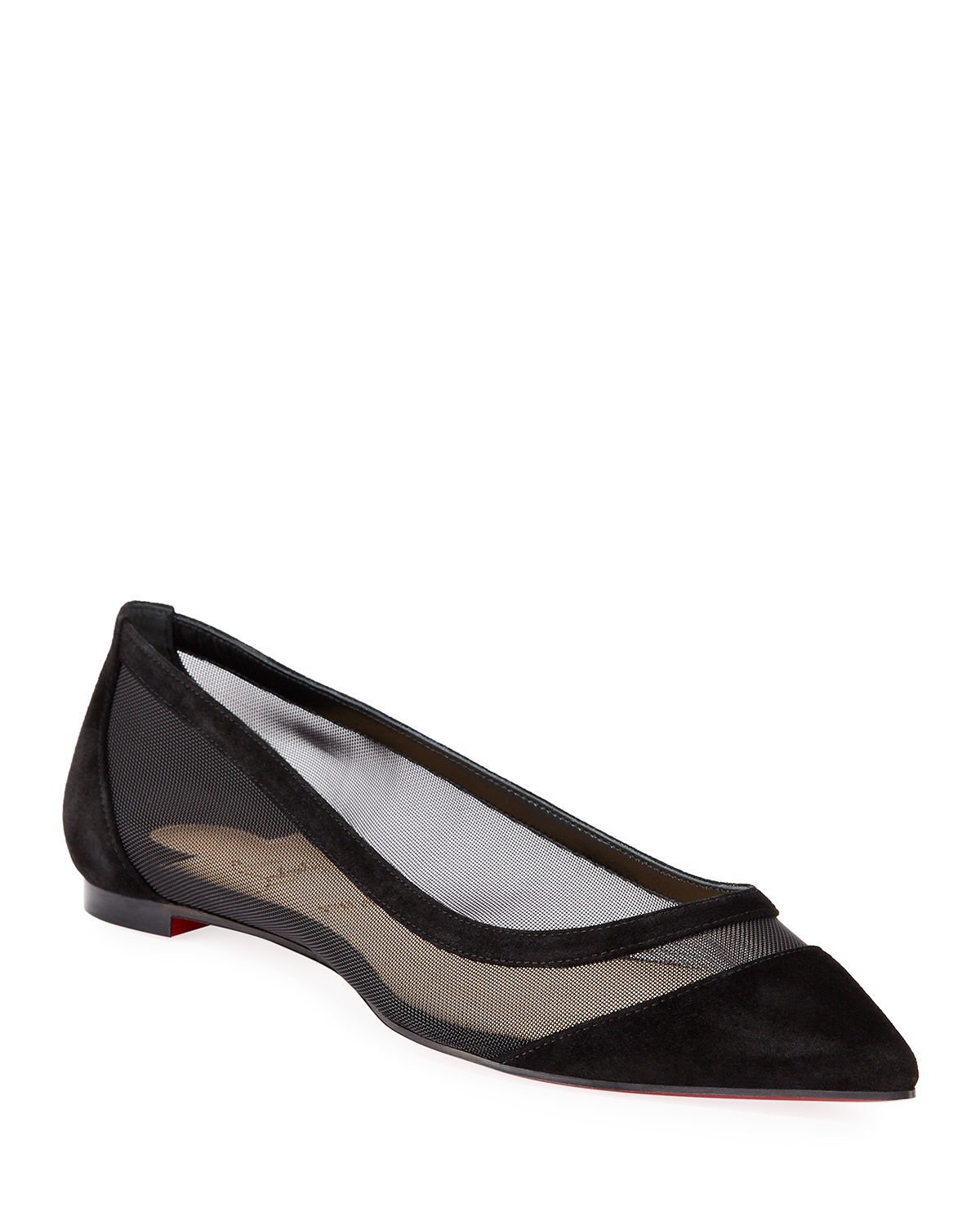 Christian Louboutin Flats GALATIVI MESH POINTED RED SOLE FLATS
