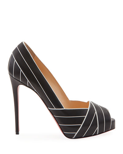 Christian Louboutin Undessin Art Deco Red Sole Peep-Toe Pumps