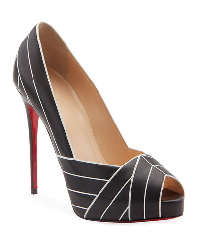 Undessin Art Deco Red Sole Peep-Toe Pumps
