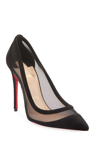 Christian Louboutin Galativi Suede/Mesh Red Sole Pumps