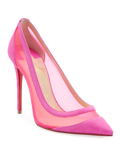 Galativi Suede/Mesh Red Sole Pumps
