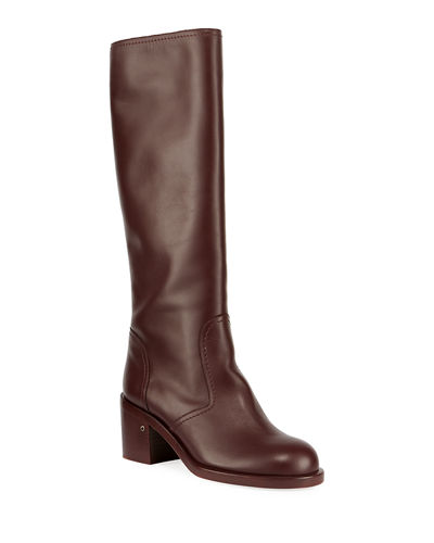 Smooth Leather Knee Boots
