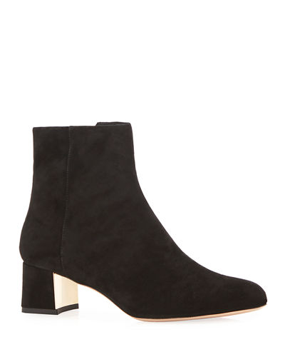Tasha Side Zip Suede Booties