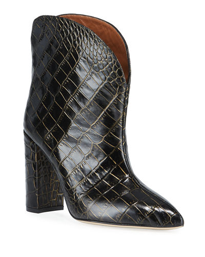 90mm Croc-Embossed Leather Booties