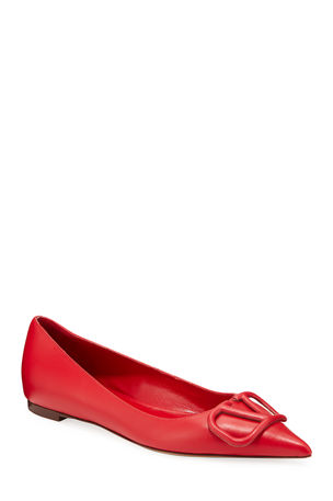 Valentino Garavani VLOGO Leather Ballet Flats with Tonal Logo